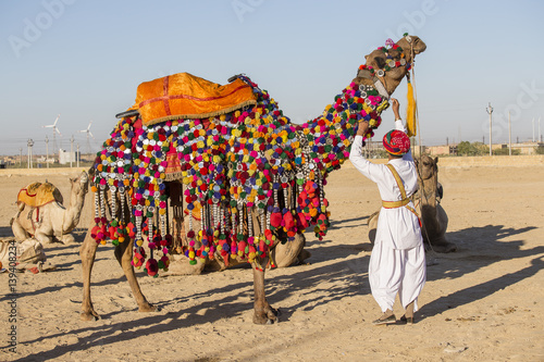 Camel and indian men participate in Desert Festival. Jaisalmer, Rajasthan, India