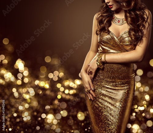 Fashion Model Body in Gold Dress, Woman Elegant Golden Gown, Sexy Unrecognizable Beautiful Lady Wall mural