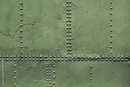 Türaufkleber Schiff Old military green metal sheets with rivet