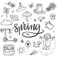 Hand Drawn Lettering Spring Funny Graphic Set. Umbrella, Paper Boat, Boots, Little Boy With Dog, Cat, Bird, Sun, Birdhouse, Snail And Lily Of The Valley. Isolated Elements On A White Background
