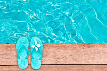 Sandals By A Swimming Pool, Summer Concept