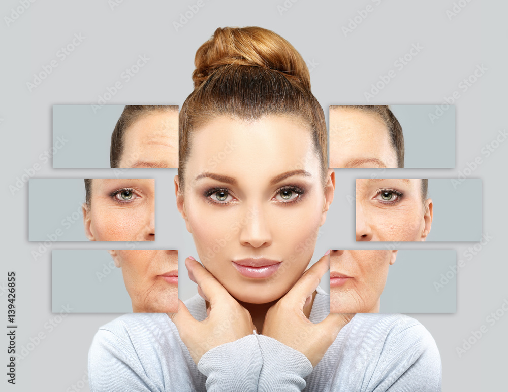 Fototapeta Aging. Mature woman-young woman.Face with skin problem