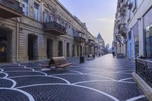 Central Street In Baku Early In The Morning.Azerbaijan