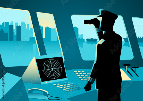 Fotografía Graphic illustration of a ship captain