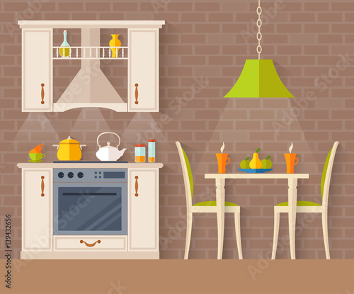 Fényképezés  Small kitchen with dining room
