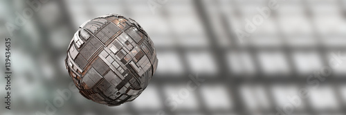Cuadros en Lienzo hovering science fiction style tech sphere background banner