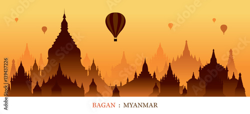 Bagan, Myanmar, Landmarks Silhouette Sunrise Background, Cityscape, Travel and T Wallpaper Mural