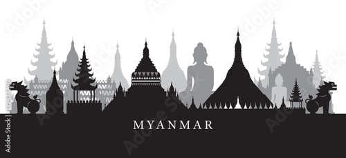 Платно Myanmar Landmarks Skyline in Black and White Silhouette, Cityscape, Travel and T