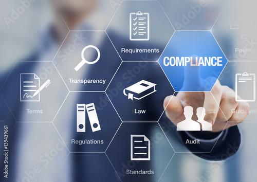 Fotografía  Compliance concept with icons, virtual screen, businessman touching button