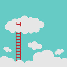 Success Ladder Leading To Cloud And Many Short Ones. Business, Goal, Competition, Unique, Progress, Challenge, Hope And Leadership Concept.