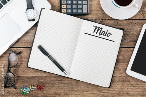 Pleasant Maio Portuguese May Month Name On Paper Note Pad At Office Download Free Architecture Designs Terchretrmadebymaigaardcom