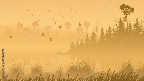 illustration-of-forest-with-its-reflection-in-lake-and-flock-of-birds