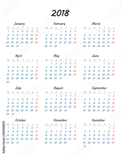 simple calendar 2018 year week starts from monday vector illustration
