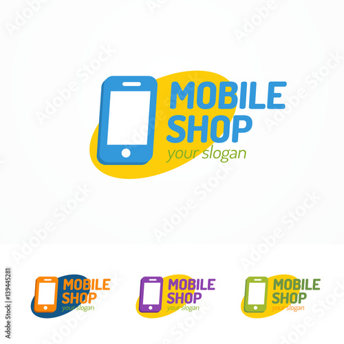 Mobile shop logo set with silhouette phone on ellipse can