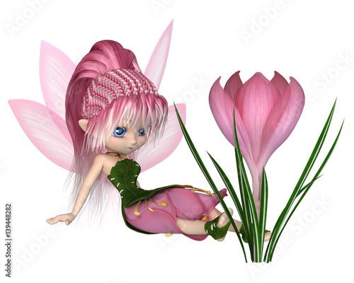 mala-czarodziejka-ze-skrzydelkami-obok-rozowego-kwiatka