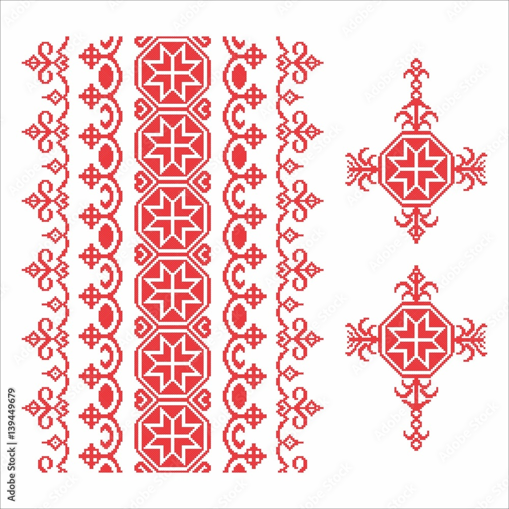 Traditional Romanian sewing floral patterns
