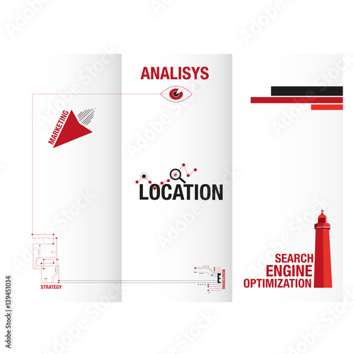 Search engine optimization triptych design for business Wall mural
