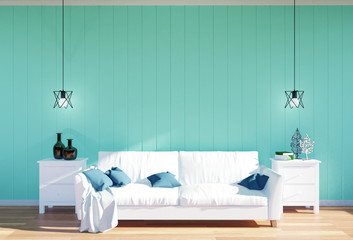 Living room interior - white leather sofa and green wall panel with space, 3D rendering