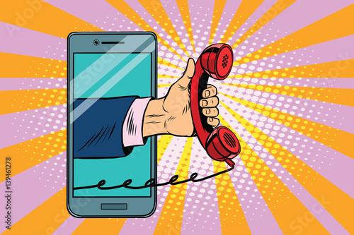 mobile retro handset, modern smartphone Tapéta, Fotótapéta
