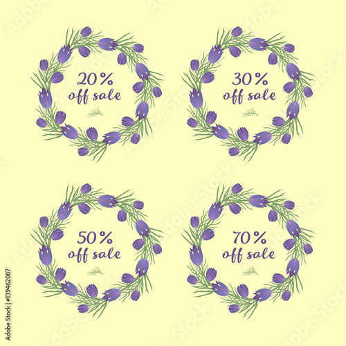 Photo sur Toile Papillons dans Grunge Set of Sale Sign Banner Poster ready for Web and Print. Spring sale tag design, voucher template. Big set. Floral frame for text, isolated on white background. Vector illustration.