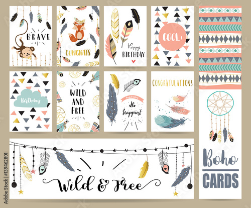 Photo  Card template collection for banners,Flyers,Placards with feather,fox,monkey and
