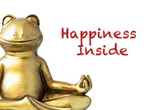 Smiling Gold Yoga Frog Meditating In Lotus Pose. Happiness Inside Quote. Peace And Balance Concept. Isolated On White.