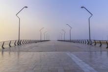 Pier On The Seafront In Baku At Sunrise.Azerbaijan