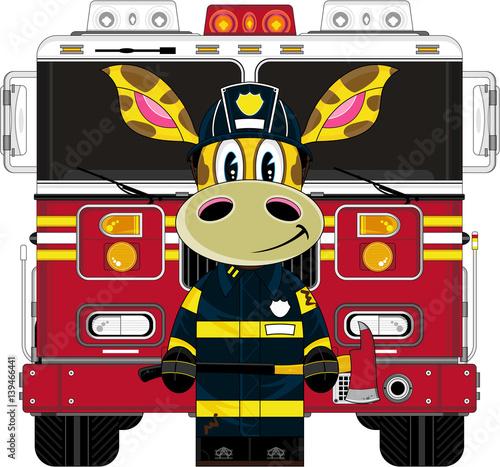 Cute Cartoon Zebra Fireman and Fire Engine Poster