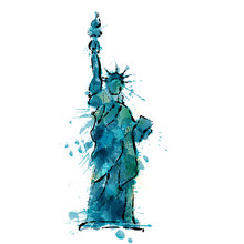 Statue Of Liberty In New York Made Of Colorful Splashes