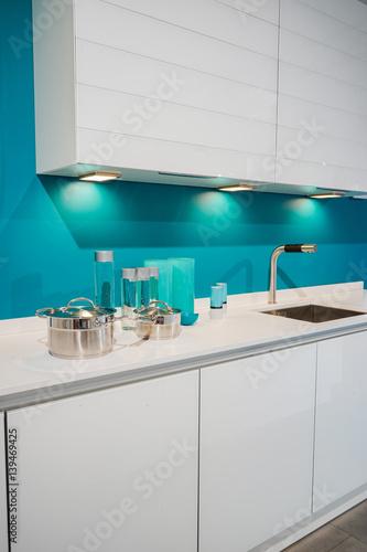 Moderne Kuchenzeile In Azur Blau Und Weiss Hochformat Buy This