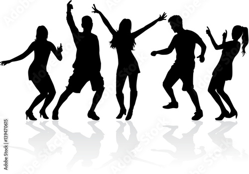 Obrazy na płótnie Canvas Dancing people silhouettes.