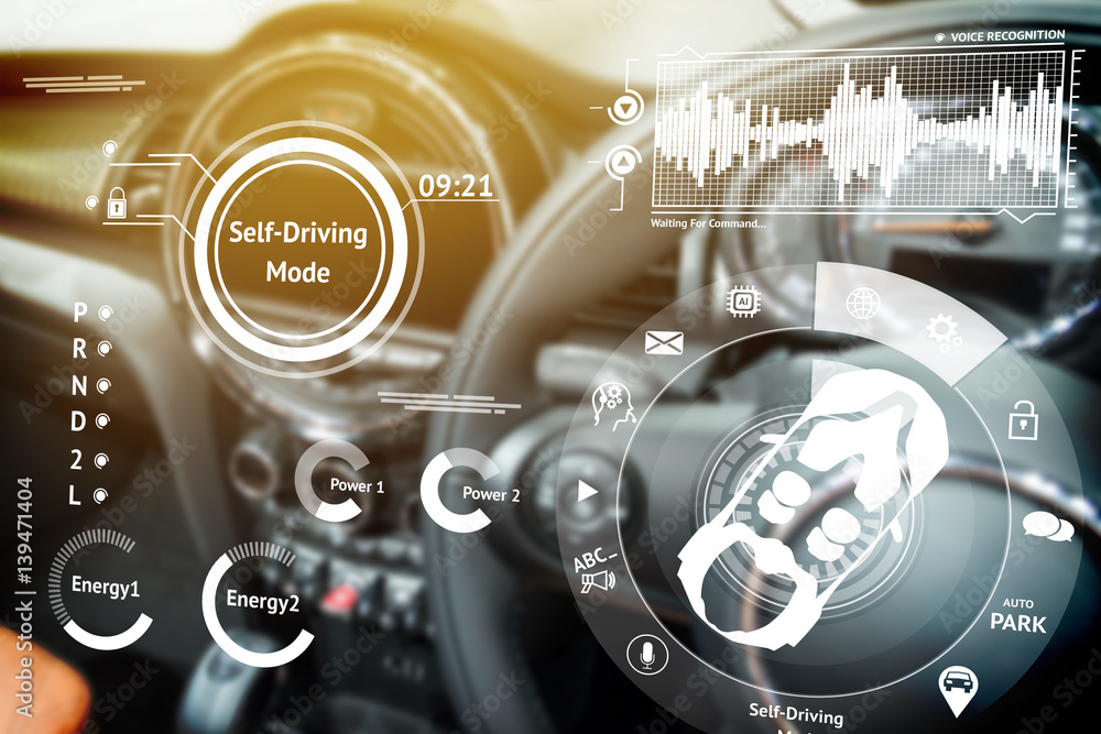 Fototapeta Smart car (HUD) concept. Empty cockpit in vehicle and Self-Driving mode car graphic screen with flare light