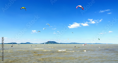 Kitesurfing on Lake Balaton on August 2016, Hungar