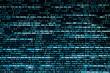 canvas print picture Script code on monitor, closeup. Software development concept