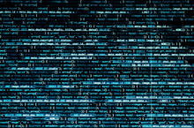 Script Code On Monitor, Closeup. Software Development Concept
