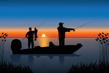 Silhouette Of Fisherman In Boat With Pike Fish. Fishing Vector.