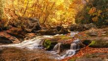 Cullasaja Rapids In Autumn Near Highlands North Carolina