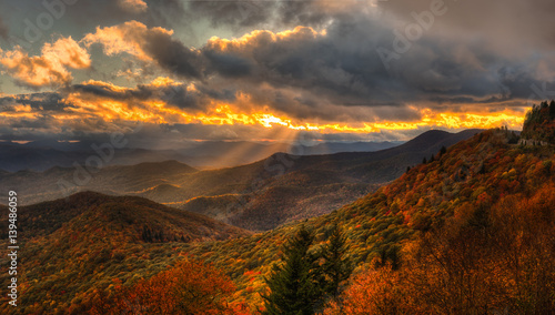 In de dag Cappuccino Autumn Sunset on the Blue Ridge Parkway near Brevard North Carolina