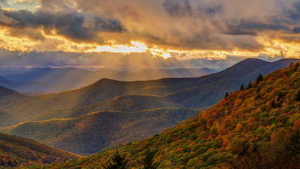 Obraz Autumn Sunset on the Blue Ridge Parkway near Brevard North Carolina