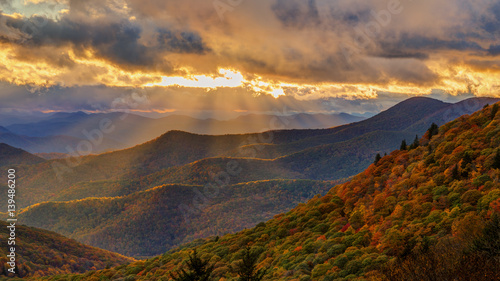 Autumn Sunset on the Blue Ridge Parkway near Brevard North Carolina - 139486200