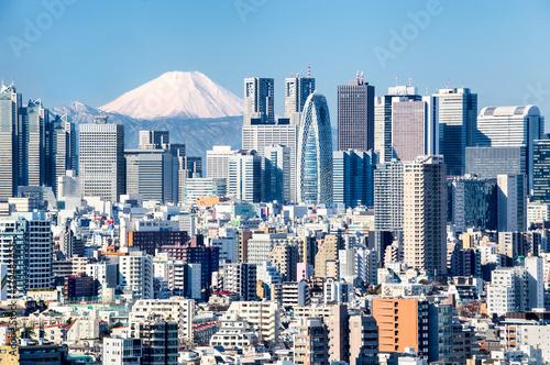 Plakat Tokio z Fuji w tle