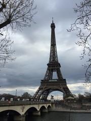 Widok zimy wieża eifla, Paryż, Francja