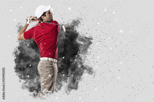 Deurstickers Golf Golf Player coming out of a blast of smoke