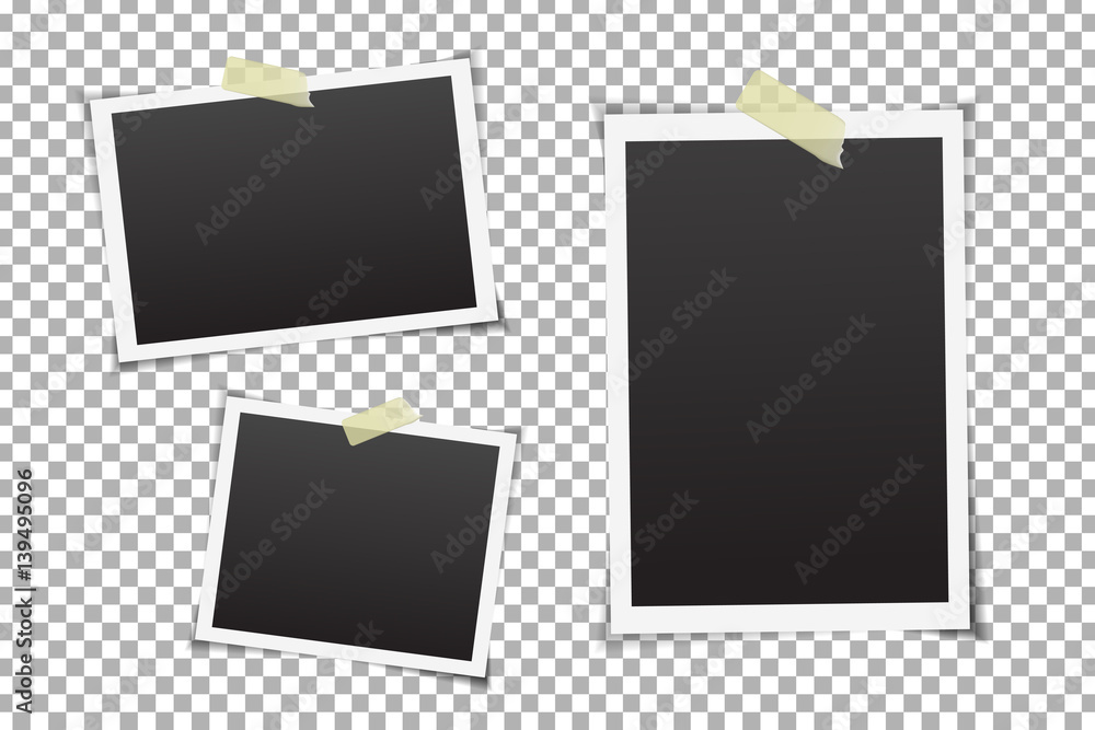 Fototapety, obrazy: Vector collection of photo frames on the transparent background.