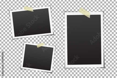 Fotografiet  Vector collection of photo frames on the transparent background.