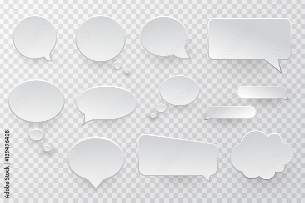 Fototapeta Vector collection of isolated speech bubbles on the transparent background.