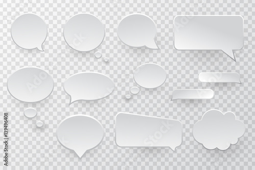 Vector collection of isolated speech bubbles on the transparent background Canvas Print