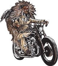 An Hand Drawn Vector, Freehand Sketching. Native American Couple, Lovers, Drive A Motorcycle. Note - The Bike Is Not Specific Brand - Something As A Common Chopper. Colour Version Of Riders.