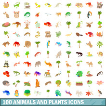 100 Animals And Plants Icons S...