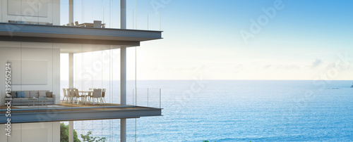 Fotografia  Sea view meeting and living room in modern office, Building with luxury interior